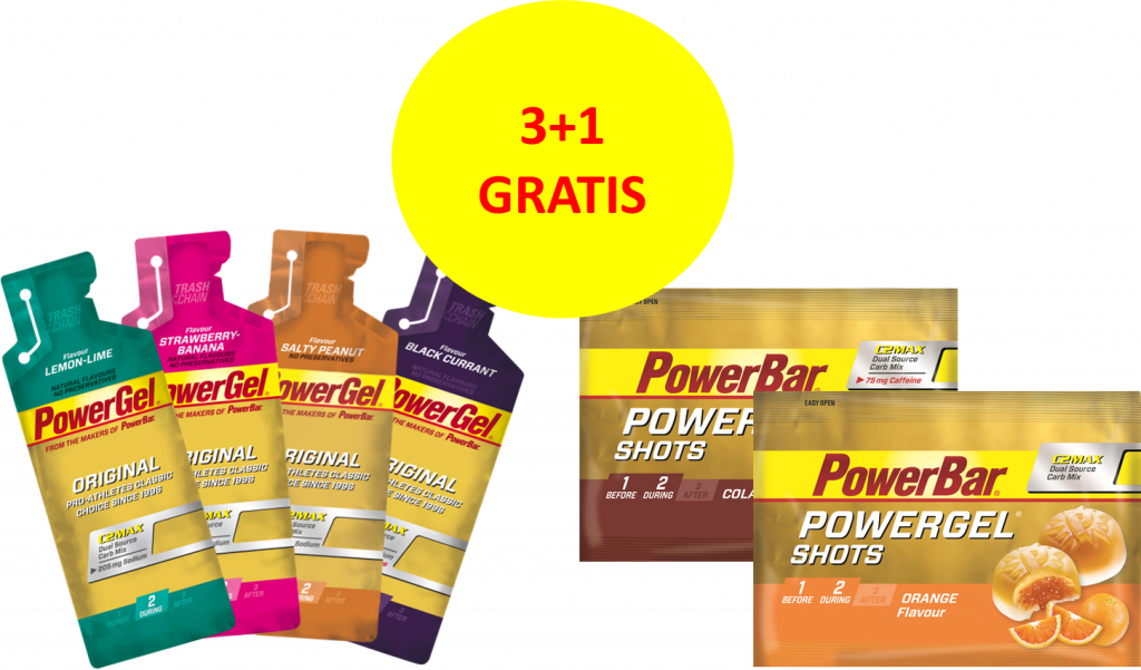 Bestel PowerBar PowerGel Original & PowerGel Shots 3 + 1 gratis!
