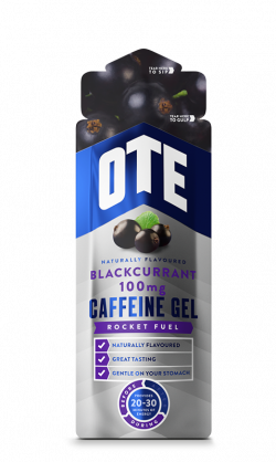 Aanbieding OTE Energy Gel + Caffeine - Blackcurrant - 56 gram (THT 31-10-2019)
