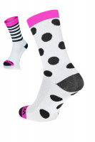 Winaar BWP dot stripe mix - Wit-Roze met Zwarte Stippen & Strepen