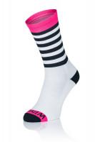 Winaar BWP stripes - Wit-Zwart Met Fluo Roze Accenten