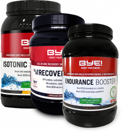 BYE! Isotonic Sportdrink + BYE! Endurance Booster + BYE! Recovery Drink + 10 gratis repen
