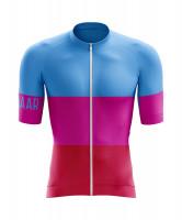 Winaar Pink Fietsshirt korte mouw - Blauw-Roze-Rood
