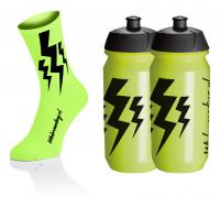 Lightning Socks - Fluo Geel + 2x Lightning Bidons - Geel