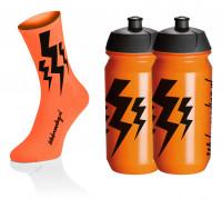 Lightning Socks - Fluo Oranje + 2x Lightning Bidons - Oranje