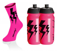 Lightning Socks - Fluo Roze + 2x Lightning Bidons - Roze