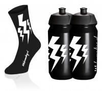 Lightning Socks - Zwart + 2x Bidons - Zwart