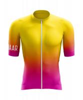 Winaar Sunburst Fietsshirt korte mouw - Geel-Oranje-Roze