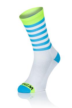Winaar WBF stripes - Wit-Fluo Geel Met Blauwe Strepen