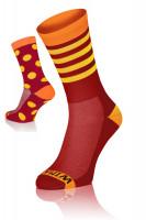 Winaar BO dot stripe mix - Rood-Oranje Met Gele Stippen & Strepen